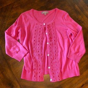 Merona fuscia pink cardigan w/ 3/4 sleeves